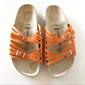 Birkenstock Orange Granada Leather Sandal Size 39